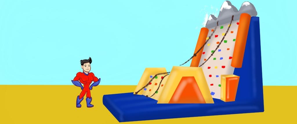 noleggio dei gonfiabili sportivi come l'arrampicata