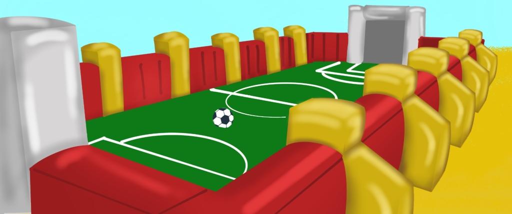 noleggio dei gonfiabili sportivi come il calcio balilla